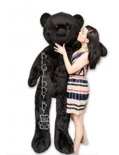 """Плюшевый медведь """"БигТедди"""" 190 см черный длинноногий c бантиком и шарфиком"""