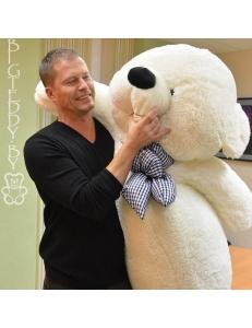 """Звёздный плюшевый медведь """"БигТедди"""" 210 см белый длинноногий с бантиком"""